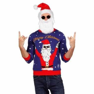 Blauwe foute kersttrui rockende kerstman