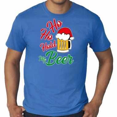 Foute blauw kers / kerstkleding ho ho hold my beer heren grote maten kersttrui