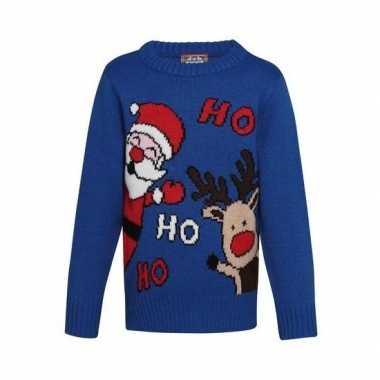 Kersttrui Voor Kinderen.Foute Blauwe Kerst Sweater Ho Ho Ho Kinderen Kersttrui Foute