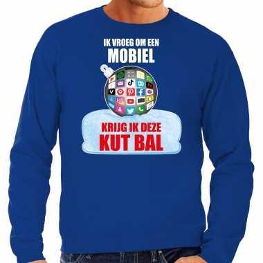 Foute blauwe kersttrui / kerstkleding ik vroeg om een mobiel krijg ik deze kut bal heren social media kerstbal