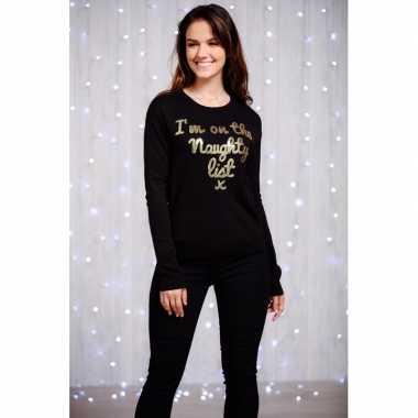 Foute dames kersttrui zwart gouden pailletten