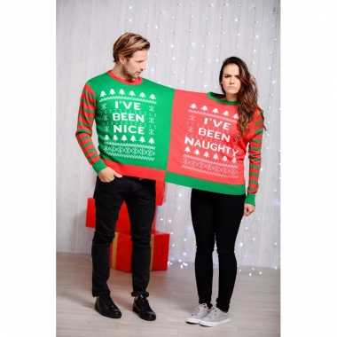 Foute duo kersttrui naughty and nice