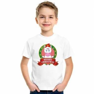 Foute eenhoorn kerstmis shirt wit kinderen kersttrui