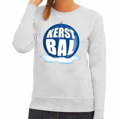 Foute feest kerst sweater blauwe kerstbal grijze sweater dames kerst