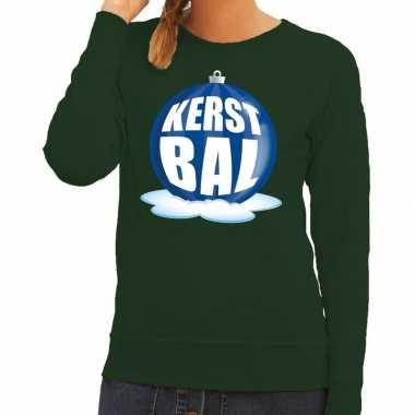 Foute feest kerst sweater blauwe kerstbal groene sweater dames kerst