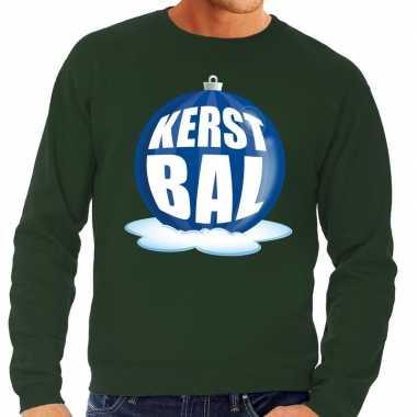 Foute feest kerst sweater blauwe kerstbal groene sweater heren kerst