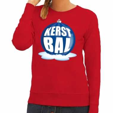 Foute feest kerst sweater blauwe kerstbal rode sweater dames kersttr