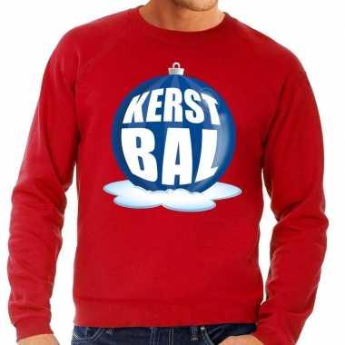 Foute feest kerst sweater blauwe kerstbal rode sweater heren kersttr