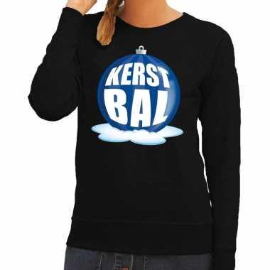 Foute feest kerst sweater blauwe kerstbal zwarte sweater dames kerst