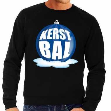 Foute feest kerst sweater blauwe kerstbal zwarte sweater heren kerst