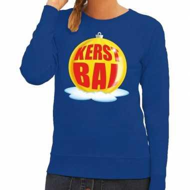 Foute feest kerst sweater gele kerstbal blauwe sweater dames kersttr