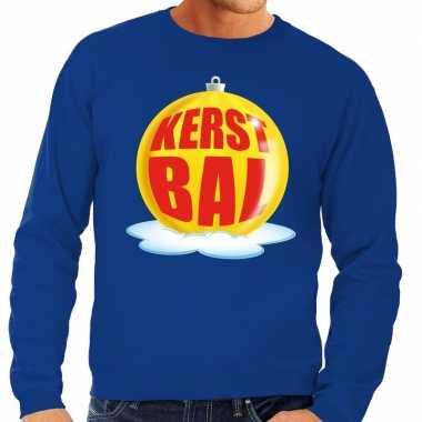 Foute feest kerst sweater gele kerstbal blauwe sweater heren kersttr
