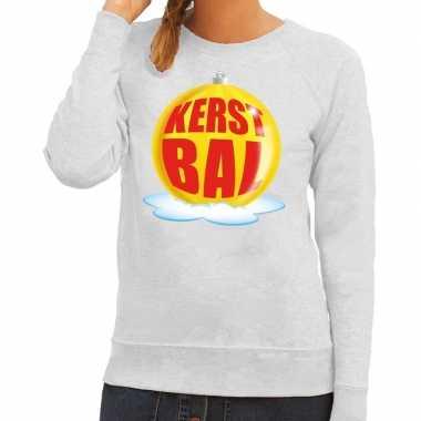 Foute feest kerst sweater gele kerstbal grijze sweater dames kersttr