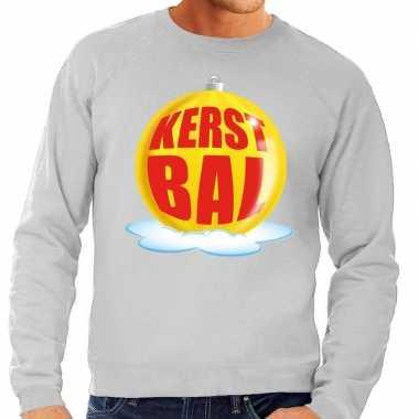 Foute feest kerst sweater gele kerstbal grijze sweater heren kersttr