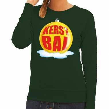 Foute feest kerst sweater gele kerstbal groene sweater dames kersttr