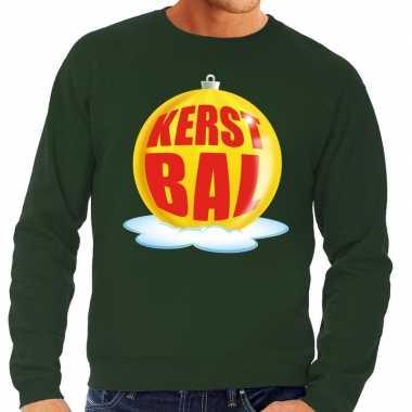 Foute feest kerst sweater gele kerstbal groene sweater heren kersttr