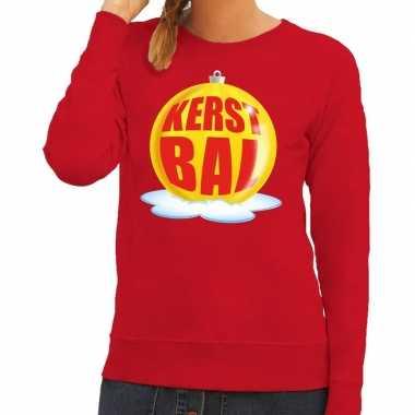 Foute feest kerst sweater gele kerstbal rode sweater dames kersttrui
