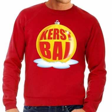 Foute feest kerst sweater gele kerstbal rode sweater heren kersttrui