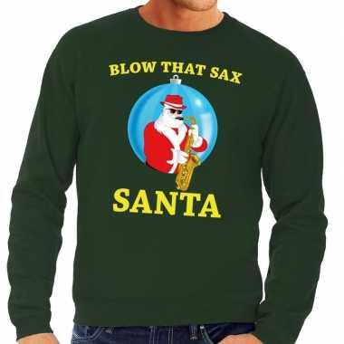 Foute feest kerst sweater groen blow that sax heren kersttrui