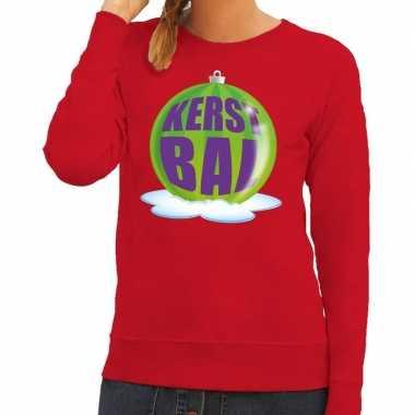 Foute feest kerst sweater groene kerstbal rode sweater dames kersttr