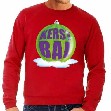 Foute feest kerst sweater groene kerstbal rode sweater heren kersttr