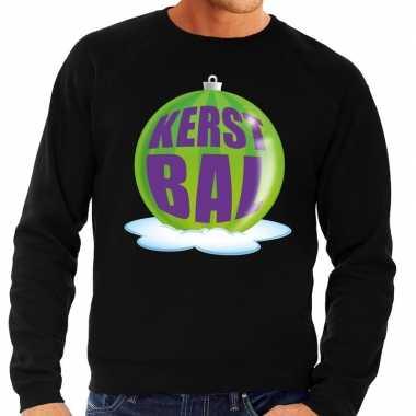 Foute feest kerst sweater groene kerstbal zwarte sweater heren kerst