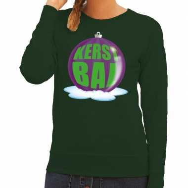 Foute feest kerst sweater paarse kerstbal groene sweater dames kerst