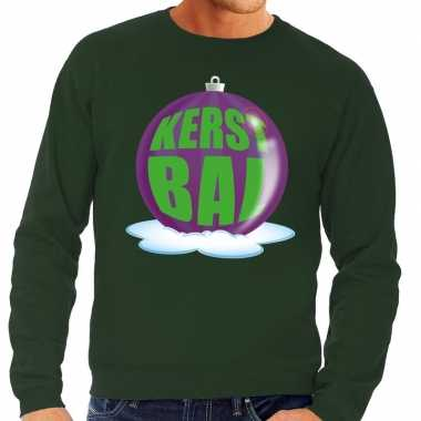 Foute feest kerst sweater paarse kerstbal groene sweater heren kerst