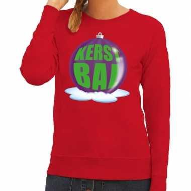 Foute feest kerst sweater paarse kerstbal rode sweater dames kersttr