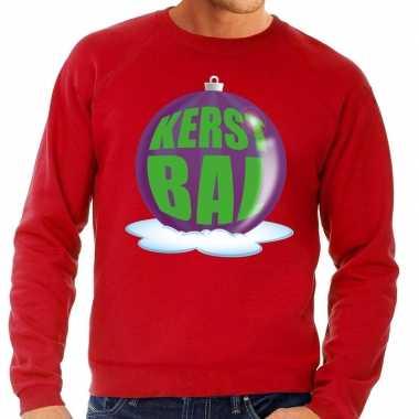 Foute feest kerst sweater paarse kerstbal rode sweater heren kersttr