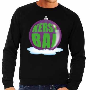 Foute feest kerst sweater paarse kerstbal zwarte sweater heren kerst