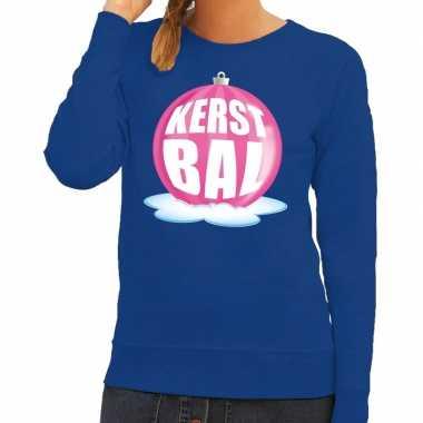 Foute feest kerst sweater roze kerstbal blauwe sweater dames kersttr