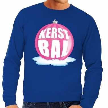 Foute feest kerst sweater roze kerstbal blauwe sweater heren kersttr