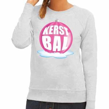 Foute feest kerst sweater roze kerstbal grijze sweater dames kersttr