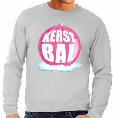 Foute feest kerst sweater roze kerstbal grijze sweater heren kersttr