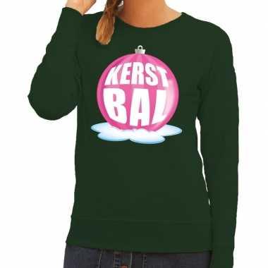 Foute feest kerst sweater roze kerstbal groene sweater dames kersttr