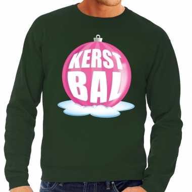 Foute feest kerst sweater roze kerstbal groene sweater heren kersttr