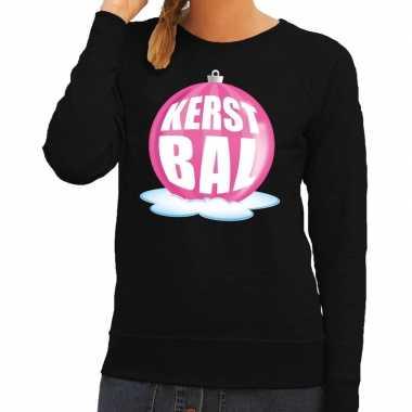 Foute feest kerst sweater roze kerstbal zwarte sweater dames kersttr
