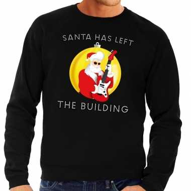 Foute feest kerst sweater zwart santa has left the building heren ke