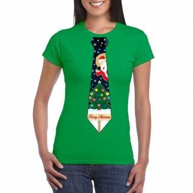 Foute fout kers groen kerstboom stropdas dames kersttrui