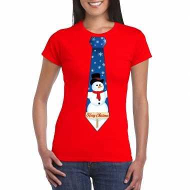 Foute fout kers rood sneeuwman stropdas dames kersttrui
