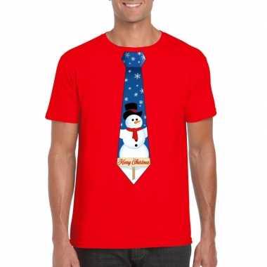 Foute fout kers rood sneeuwman stropdas heren kersttrui