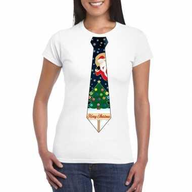 Foute fout kers wit kerstboom stropdas dames kersttrui