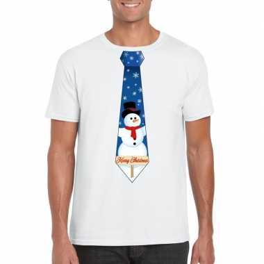 Foute fout kers wit sneeuwman stropdas heren kersttrui