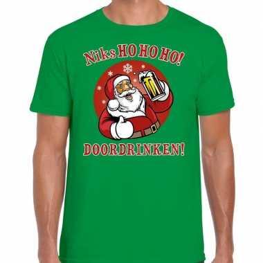 Foute fout kers zuipende kerstman niks ho ho ho doordrinken groen heren kersttrui
