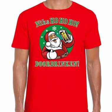 Foute fout kers zuipende kerstman niks ho ho ho doordrinken rood heren kersttrui