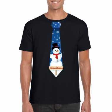 Foute fout kers zwart sneeuwman stropdas heren kersttrui