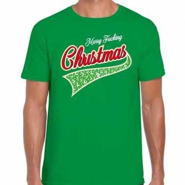 Foute fout kerstborrel shirt / kerstshirt merry fucking christmas gro