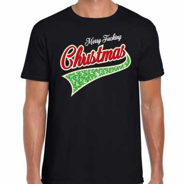 Foute fout kerstborrel shirt / kerstshirt merry fucking christmas zwa