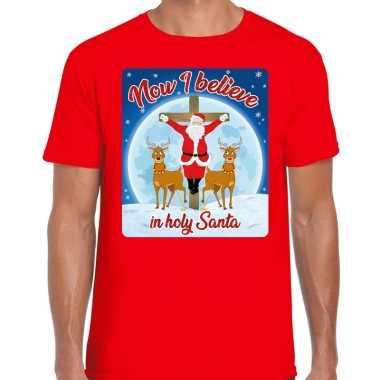 Foute fout kerstborrel shirt / kerstshirt now i believe rood heren ke